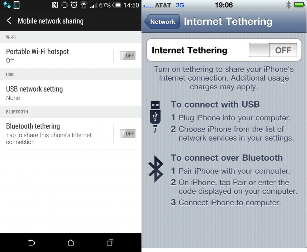 Sharing is caring: The Bluetooth Internet Sharing option on the HTC One M8 (Android) and the iPhone.